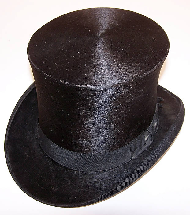 Victorian Bent & Bush Boston Black Beaver Gentlemen's Opera Top Hat