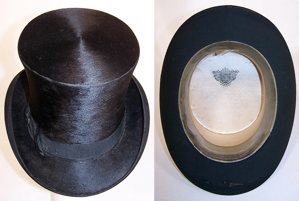 Victorian Bent & Bush Boston Black Beaver Gentlemen's Opera Top Hat from the top & inside view
