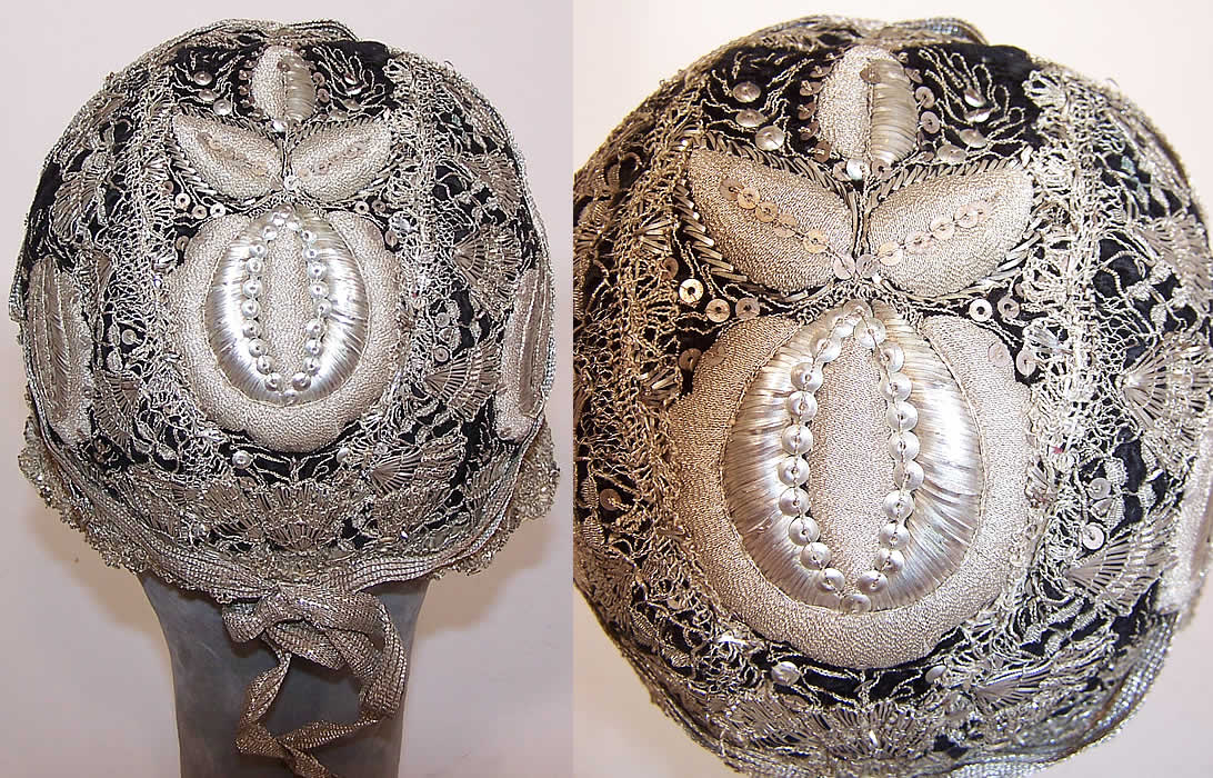 19th Century Antique Silver Metallic Embroidered Black Velvet German Folk Bonnet Cap two views.