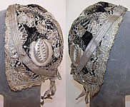 19th Century Antique Silver Metallic Embroidered Black Velvet German Folk Bonnet Cap