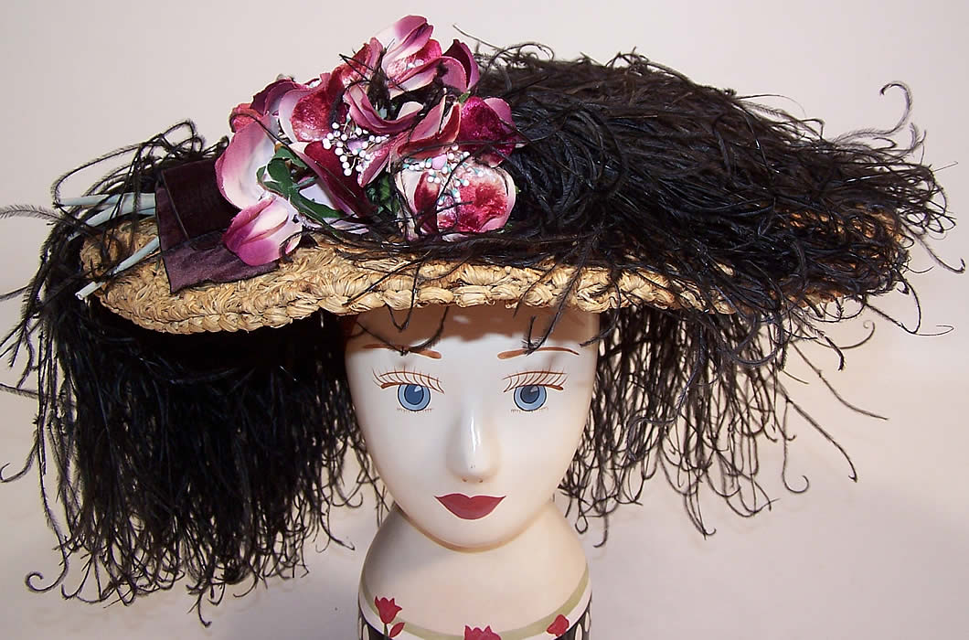Belle Epoque Edwardian Natural Straw Raffia Wide Brim Ostrich Feather Hat