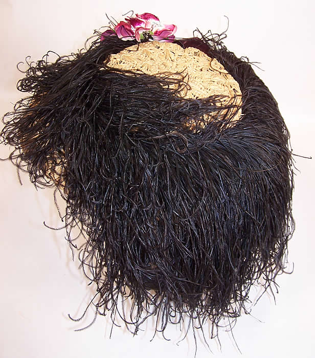Belle Epoque Edwardian Natural Straw Raffia Wide Brim Ostrich Feather Hat back view