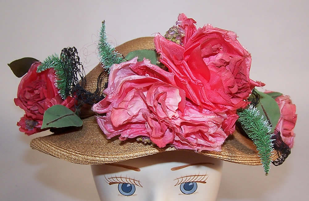 Vintage H. Leh & Co. Woven Natural Straw Pink Silk Roses Short Back Sailor Hat