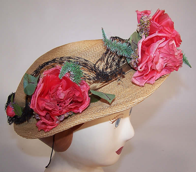 Vintage H. Leh & Co. Woven Natural Straw Pink Silk Roses Short Back Sailor Hat side view.