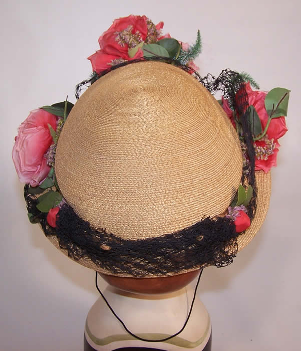 Vintage H. Leh & Co. Woven Natural Straw Pink Silk Roses Short Back Sailor Hat from the back