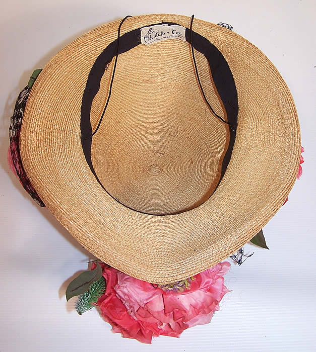 Vintage H. Leh & Co. Woven Natural Straw Pink Silk Roses Short Back Sailor Hat inside the hat
