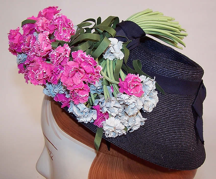 Vintage Juanita Navy Blue Straw Carnation Flower Cocktail Tilt Hat Fascinator side view.