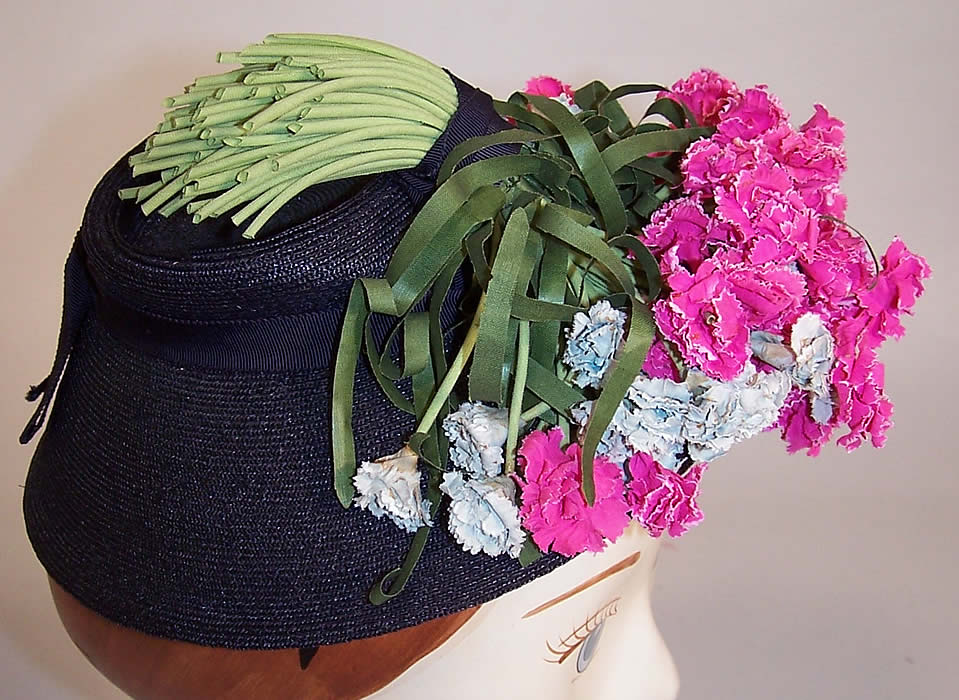Vintage Juanita Navy Blue Straw Carnation Flower Cocktail Tilt Hat Fascinator other side view.