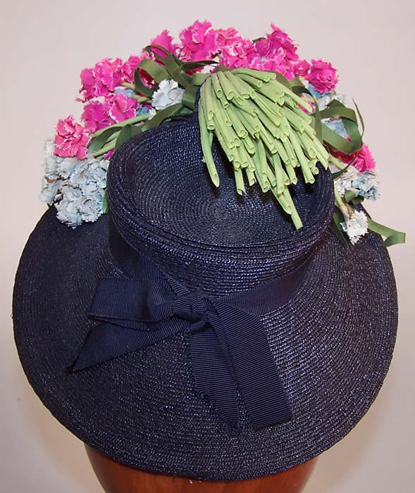 Vintage Juanita Navy Blue Straw Carnation Flower Cocktail Tilt Hat Fascinator back view