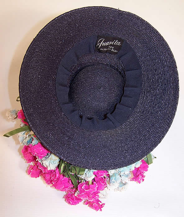 Vintage Juanita Navy Blue Straw Carnation Flower Cocktail Tilt Hat Fascinator inside view