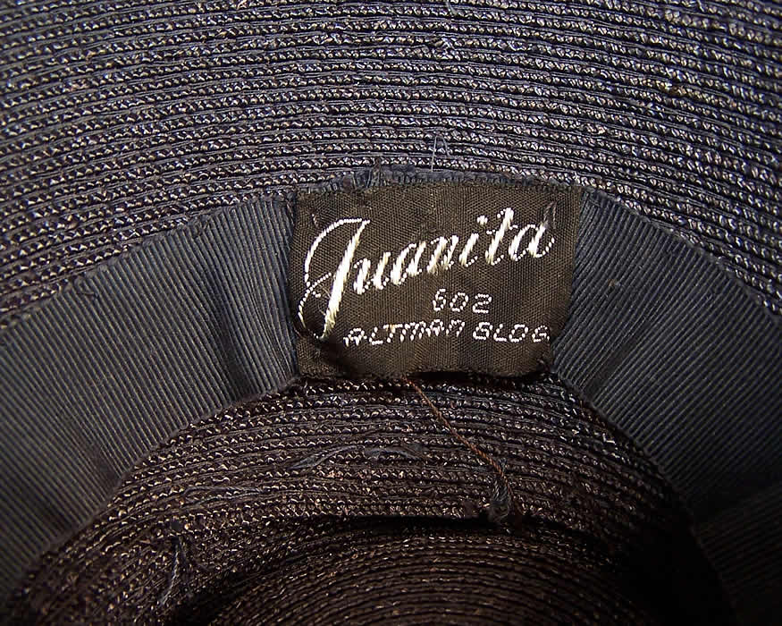 Vintage Juanita Navy Blue Straw Carnation Flower Cocktail Tilt Hat Fascinator label close up.