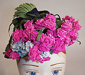 Vintage 40s Juanita Navy Blue Straw Carnation Flower Cocktail Tilt Hat Fascinator
