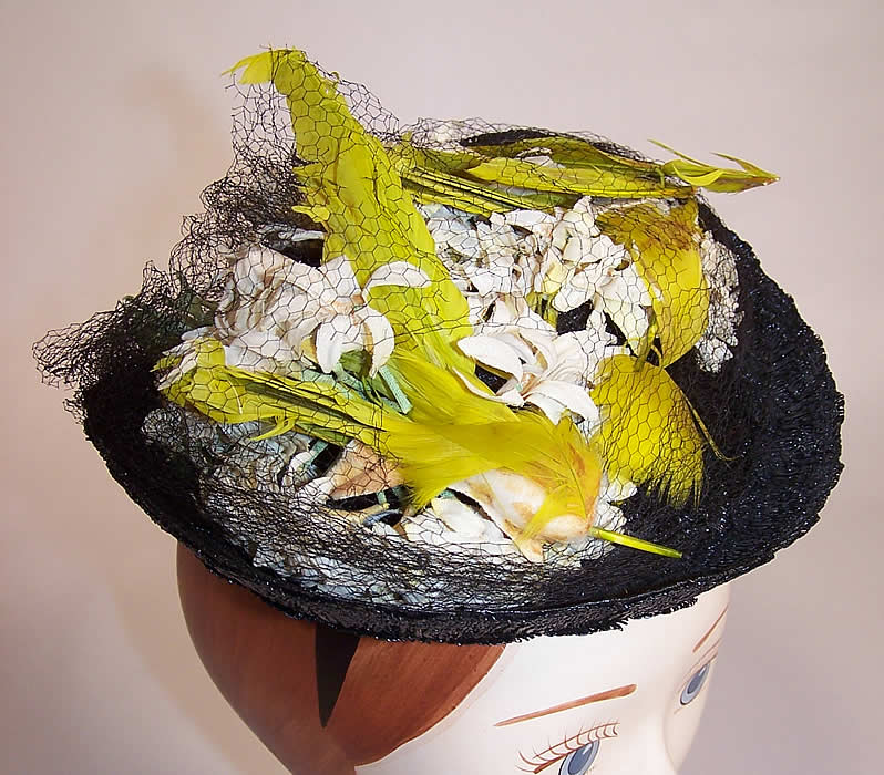 Vintage Gage Handcraft Black Straw Yellow Feather Floral Cocktail Tilt Hat Fascinator side view.