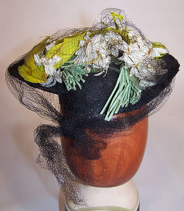 Vintage Gage Handcraft Black Straw Yellow Feather Floral Cocktail Tilt Hat Fascinator back view
