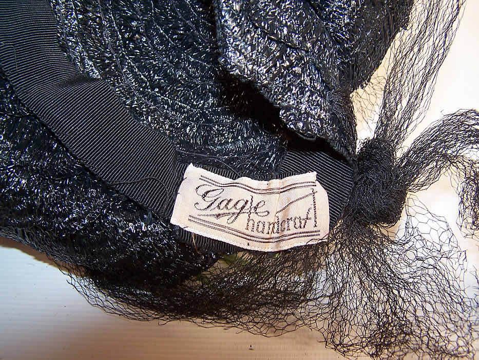 Vintage Gage Handcraft Black Straw Yellow Feather Floral Cocktail Tilt Hat Fascinator label close up.
