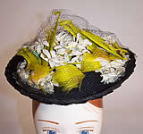 Vintage 1940s Gage Handcraft Black Straw Yellow Feather Floral Cocktail Tilt Hat Fascinator