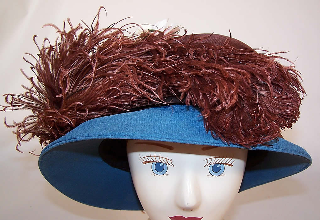 Vintage Blue Brown Silk Crepe Ostrich Feather Floral Ascot Hat
