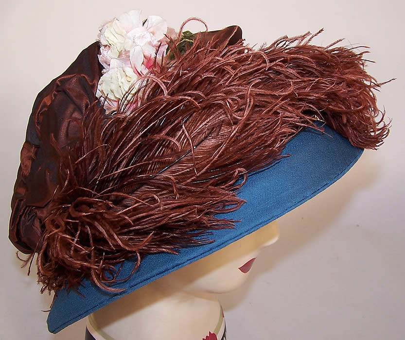 Vintage Blue Brown Silk Crepe Ostrich Feather Floral Ascot Hat side view.