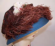 Vintage 1920s Blue Brown Silk Crepe Ostrich Feather Floral Ascot Hat