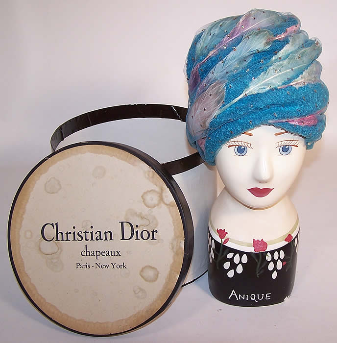 c288ef7ebee Vintage Christian Dior Turquoise Blue Net Feather Glitter Turban Hat   Box
