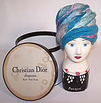 Vintage 1960s Christian Dior Turquoise Blue Net Feather Glitter Turban Hat & Box