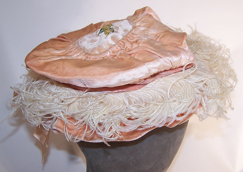 Edwardian Belle Epoque Pink Velvet Rosette Ribbon Ostrich Feather Childs Hat