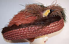 Titanic Edwardian Brown Straw Ostrich Feather Oversized Wide Brim Boater Hat
