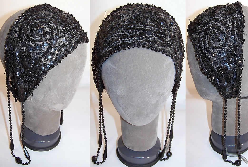 Vintage Art Deco Black Net Sequin Beaded Flapper Headband Cap 2f346b4ecc8