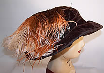 Vintage Edwardian Brown Velvet Feather Trim Wide Brim Hat