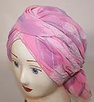 09ff896725f Vintage Christian Dior Pink Purple Chiffon White Floral Print Scarf Turban  Hat