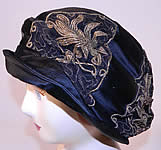 Vintage Art Deco Bobby Hats Black Silk Gold Lamé Lace Flapper Cloche Hat