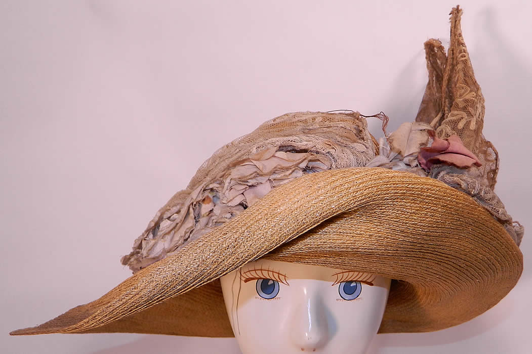 Edwardian Woven Natural Straw Tambour Net Lace Wired Wing Floral Wide Brim  Hat. This antique 5331415de46