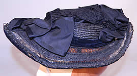 Victorian Woven Black Straw Silk Ribbon Lace Mourning Bonnet Hat