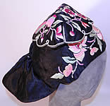 Antique Chinese Child Infant Silk Embroidered Lotus Flower Wind Hat