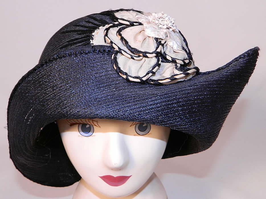 8d7c26045d5fe2 Vintage Black Straw Upturned Brim White Silk Flower Flapper Cloche Hat
