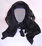 Victorian Woven Black Straw Layered Silk Veil Full Mourning Bonnet Hat