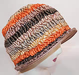 1920s Vintage Silk Ribbon Crimp Curl Striped Rainbow Flapper Cloche Hat
