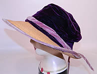 Vintage 1920s Gatsby Natural Straw Wide Brim Purple Velvet Crown Cloche Hat