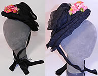Victorian Antique Black Silk Crepe Pink Flower Trim Mourning Bonnet Hat