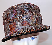 1940s Vintage Womens Black Velvet Pheasant Feather Fedora Hat