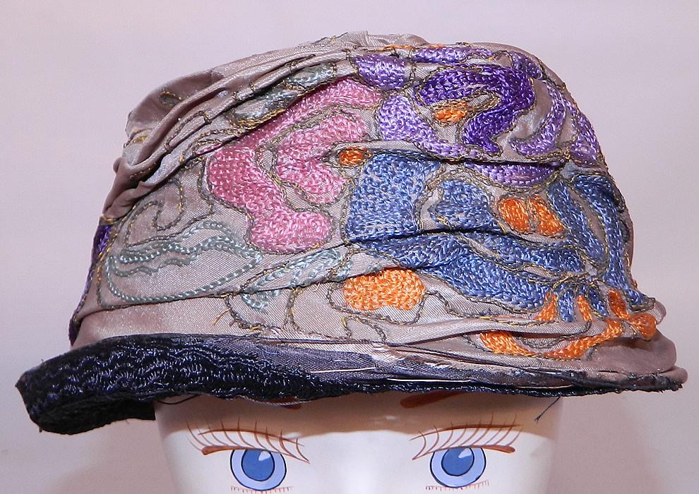 Vintage art deco taupe silk colorful crewel chain stitch flapper cloche hat - Deco toiletten taupe ...