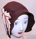 Vintage I Magnin & Co Brown Wool Felt Fall Maple Leaf Flapper Cloche Hat