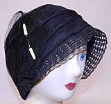 Vintage Art Deco Woven Black Horse Hair Straw Flapper Cloche Hat & Hatpin