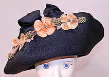 Vintage Edwardian Black Straw Orange Silk Velvet Floral Trim Upturned Wide Brim Hat