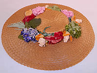 Vintage Woven Natural Straw Silk Velvet Flowers Wide Brim Summer Sun Cartwheel Hat