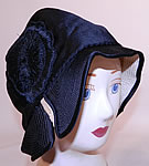 Vintage Marcelle Hats Art Deco Black  & White Silk Rosette Quilted Brim Flapper Cloche