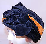 Vintage Art Deco Black & Orange Velvet Knotted Bow Trim Flapper Cloche Hat