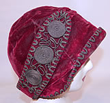 Vintage Art Deco Red Velvet Gold Lamé Lame Soutache Trim Flapper Cloche Hat
