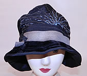 Vintage Dahlia Model Black Silk Velvet Gold Lame Embroidered Flapper Cloche Hat