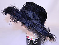 Edwardian Madame Gatecliff Modiste Black Velvet Lace Feather Trim Wide Brim Hat